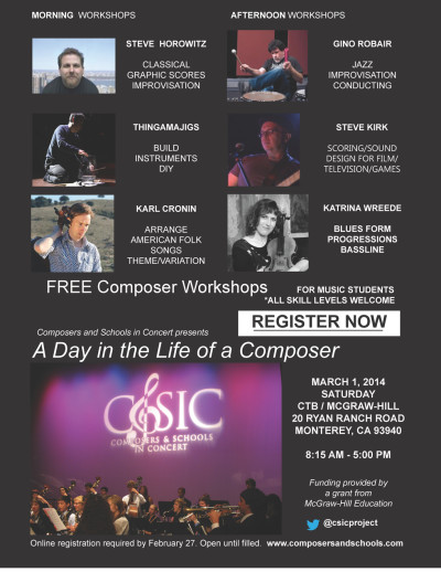 """A Day In the Life of a Composer"" - Register Today - A One-Day Event: Pre-professional Composer Workshops for Music Students"